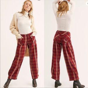 Free People Birch wide leg red plaid pants size 0